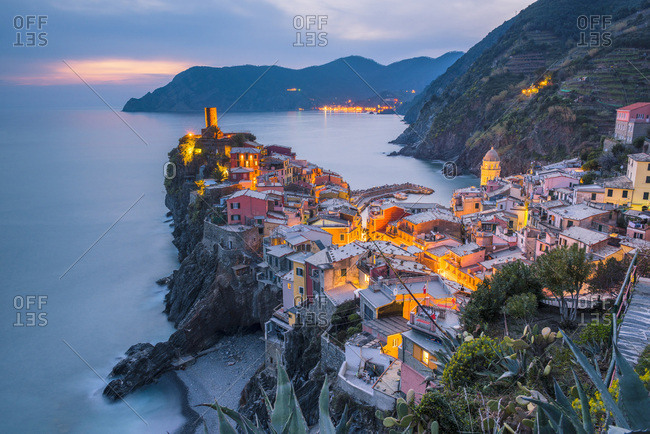 Vernazza, the village and the castle at dusk