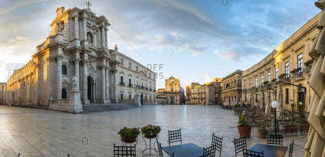 Sicily, Italy - September 26, 2016: Piazz Duomo and Cathedral, early morning