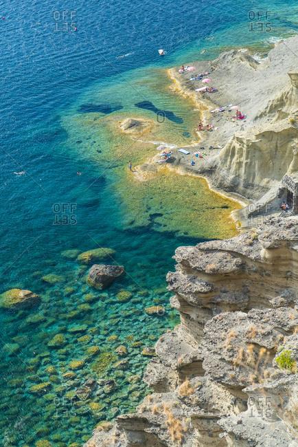 Sicily, Italy - September 26, 2016: Clear blue sea at beach of Pollara