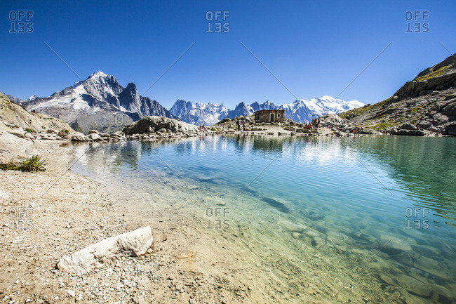 Chamonix Mont Blanc, France - September 13, 2016: The Mont Blanc mountain range reflected in the waters of Lac Blanc