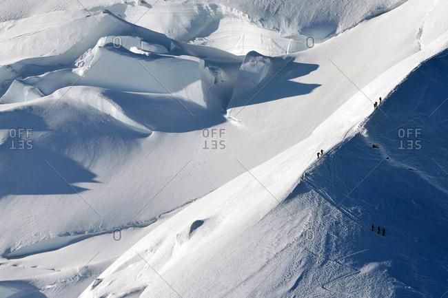 Mountaineering climbing Mont Blanc (Monte Bianco)