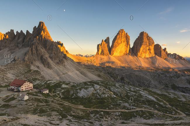 Tre Cime di Lavaredo (Drei Zinnen) and Mount Paterno at Sunset