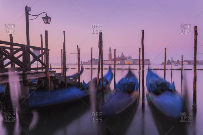 The island of San Giorgio Maggiore with the gondolas in the foreground