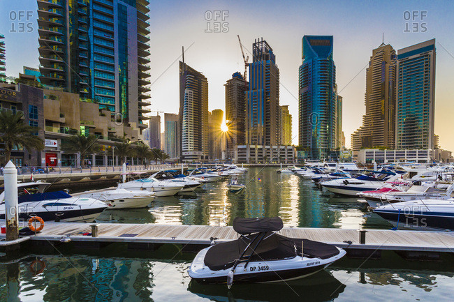 Dubai City, Dubai, United Arab Emirates - October 9, 2014: The Dubai Marina and skyline