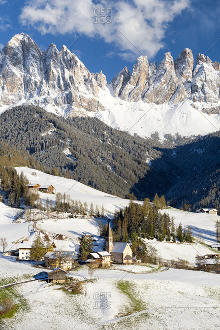 Santa Maddalena against Odle mountains