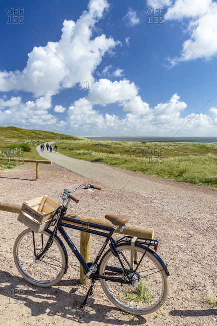 Texel, Netherlands - July 1, 2016: Bycicle near the beach of De Cocksdorp