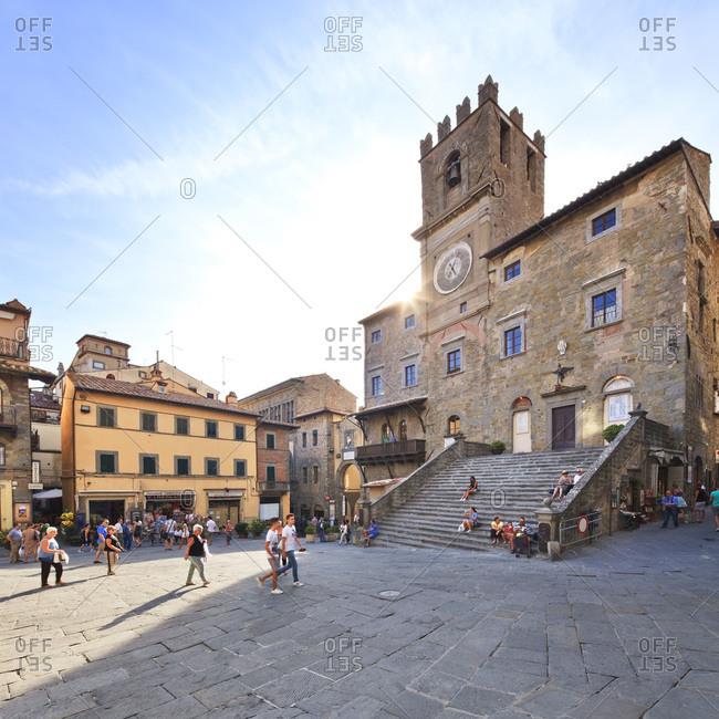 Tuscany, Italy - September 17, 2016: Piazza della Republica, Palazzo Comunale