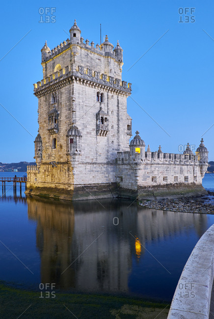 The Belem tower at dusk