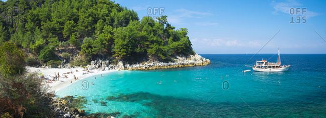 Thassos, Aegean islands, Greece - January 30, 2016: The Saliara beach