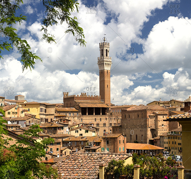Tuscany, Italy - September 9, 2016: View of historical center with Palazzo Comunale and Torre del Mangia