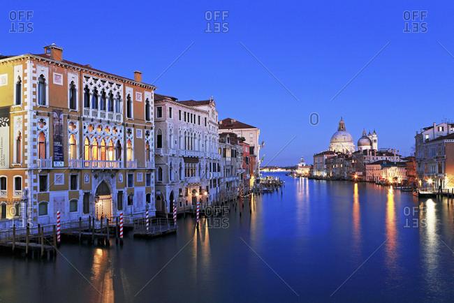 Venice, Italy - October 23, 2016: Santa Maria della Salute and the Grand Canal