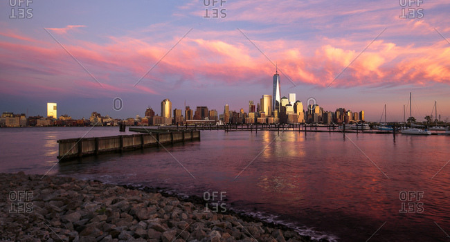 One World Trade Center, Freedom Tower, Lower Manhattan and the Financial city from New Jersey
