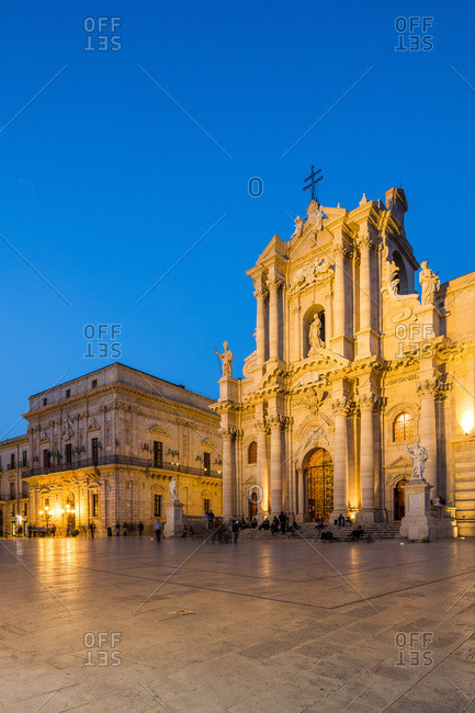 Sicily, Italy - July 31, 2016: Piazza Duomo and cathedral