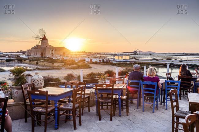 Sicily, Italy - July 31, 2016: Isole dello Stagnone, Salt field