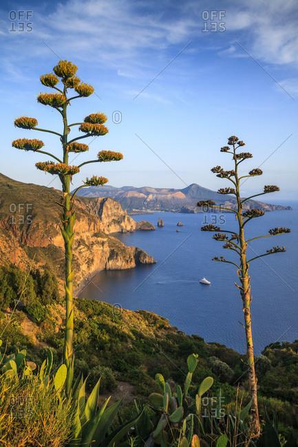 View from Belvedere Quattrocchi towards Valle Muria beach, Vulcano island in background