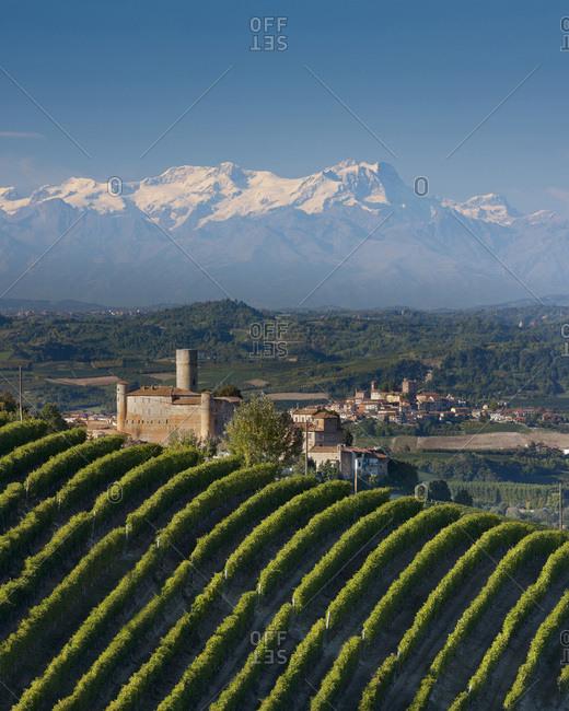 Castiglione Falletto castle and Monte Rosa