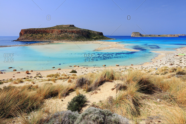 View of Gramvousa Island, Balos Bay and beach