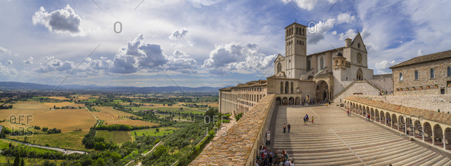 Assisi, Perugia district, Umbria, Italy - September 26, 2016: San Francesco Basilica