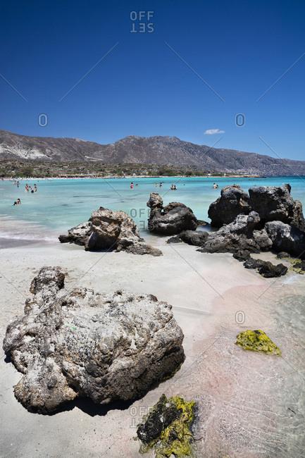 Chania, Crete Island, Crete, Greece - December 8, 2016: Pink Beach of Elafonisi