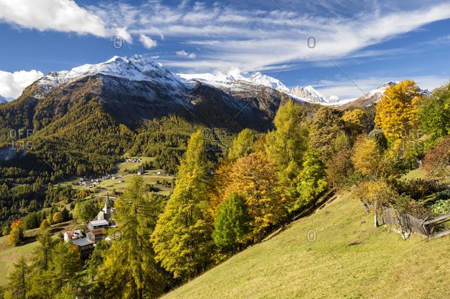 View towards Larzonei and Laste, on the background Migogn and Marmolada mountains