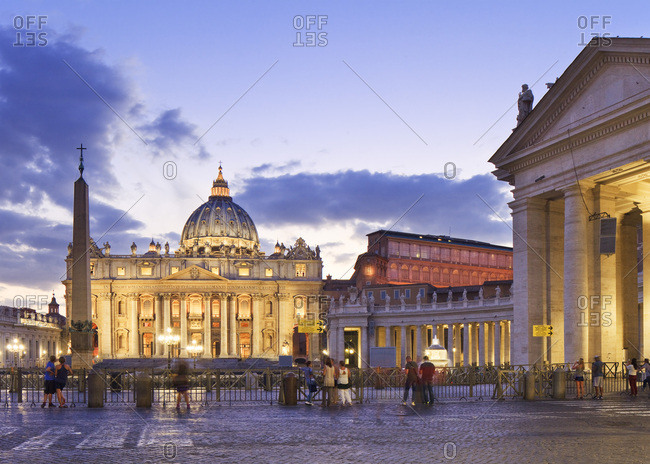Rome, Roma district, Latium, Italy - December 15, 2016: St Peter's , St Peter's Basilica and Via della Conciliazione illuminated at dusk