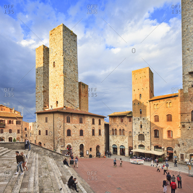 Tuscany, Italy - December 15, 2016: Piazza Duomo and Torri Salvucci