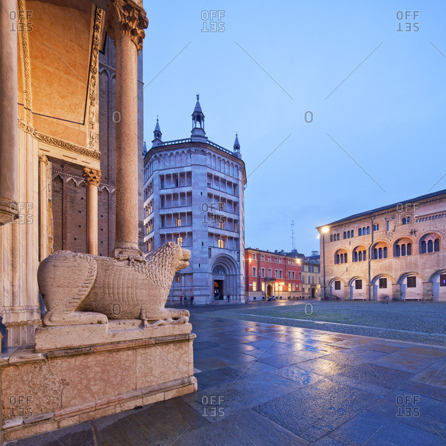 Parma, Italy - December 15, 2016: Piazza Duomo, Cathedral and Baptistery