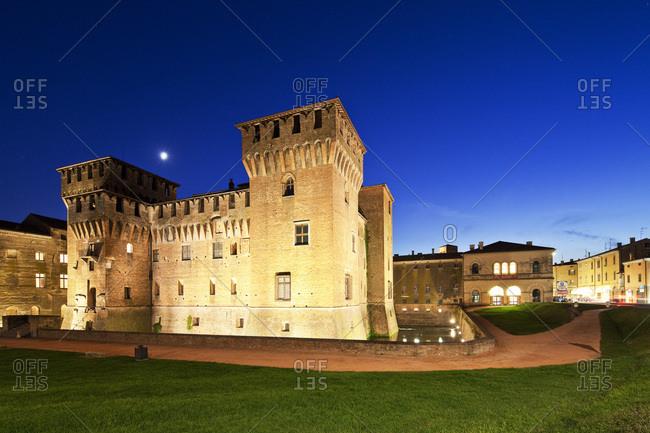 Mantua, Italy - December 15, 2016: San Giorgio Castle illuminated at dusk