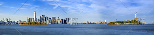 New York City, USA - July 31, 2016: One World Trade Center, Freedom Tower, Staute of liberty, The Ellis Island, view from New Jersey towards Lower Manhattan
