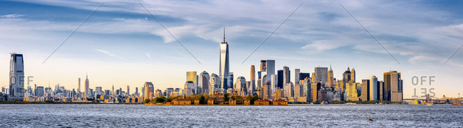 New York City, USA - July 31, 2016: One World Trade Center, Freedom Tower, The Ellis Island, view from New Jersey towards Lower Manhattan, with the One World Trade Center