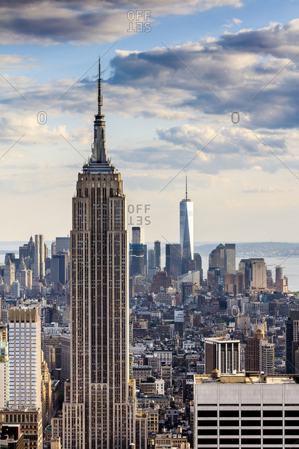 New York City, USA - July 31, 2016: Cityscape with the Empire State Building and the Freedom Tower as seen from Top of the Rock Observation Deck at the Rockefeller Center