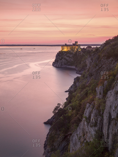 The Duino castle seen from the Rilke trail at sunset