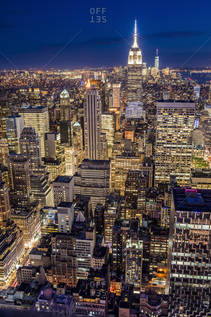 Cityscape with the Empire State Building and the Freedom Tower as seen from Top of the Rock Observation Deck at the Rockefeller Center at night