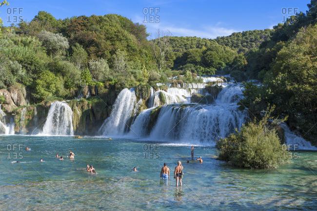 Krka National Park, Dalmatia, Croatia - January 30, 2016: Waterfalls at Skradinski buk