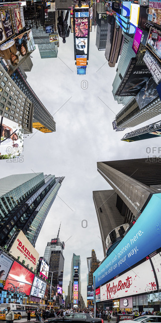 New York City, USA - July 31, 2016: Times , Broadway Avenue, Skyscrapers, view from street level