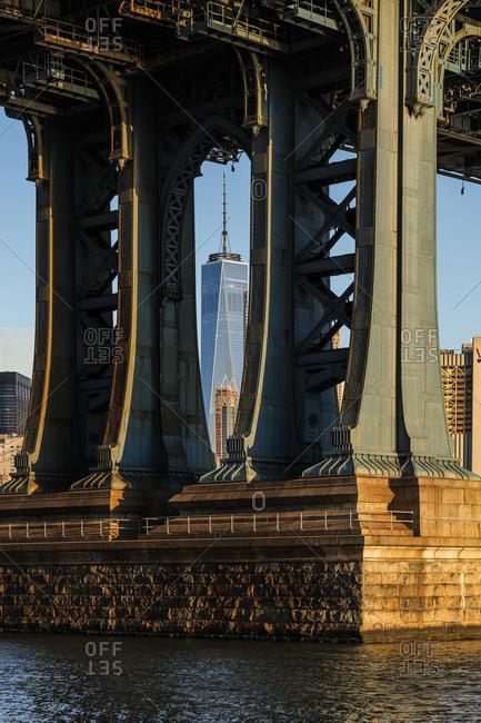 New York City, USA - July 31, 2016: Manhattan Bridge, Classic view with Freedom Tower framed by Manhattan Bridge, view from Washington Street, Dumbo