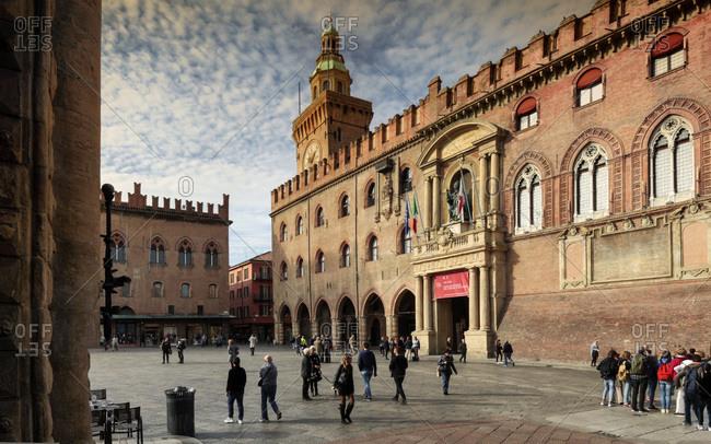 Bologna, Bologna district, Emilia-Romagna, Italy - January 9, 2017: Piazza Maggiore, Palazzo D'Accursio 1290, town hall