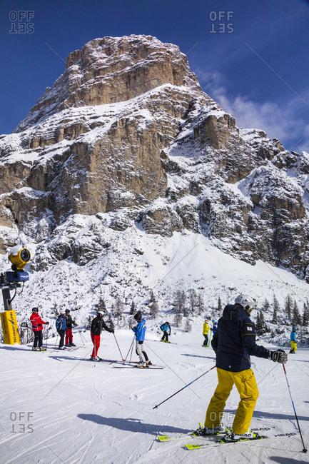 Colfosco, Italy - January 27, 2017: Col Pradat, skiing and Sass Songher