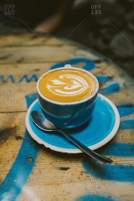 Latte in a blue mug