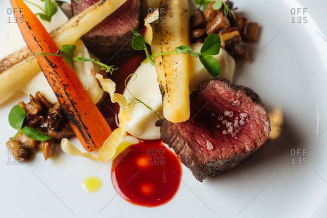 Beef and vegetables on plate