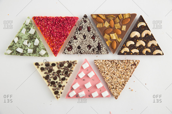 Triangle shaped chocolates in arrangement