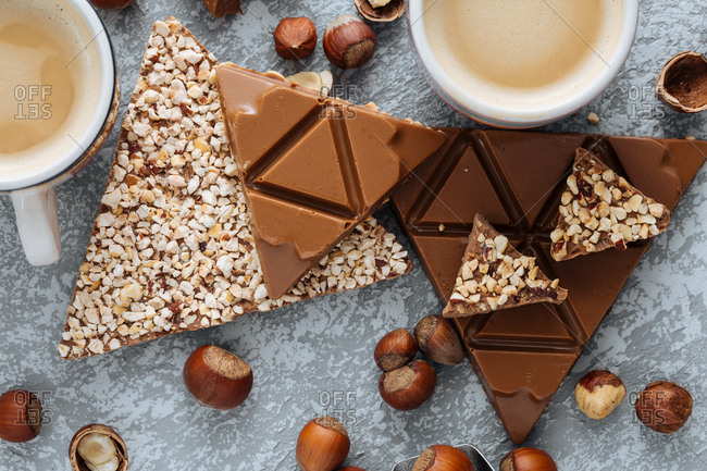 Triangle shaped chocolates with drink