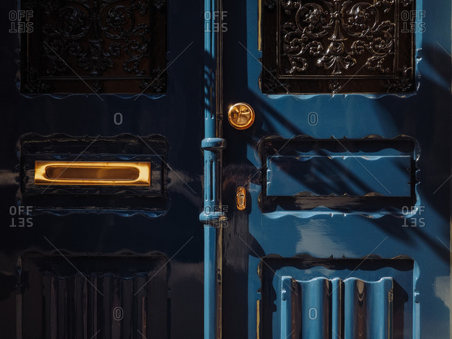 A blue door in Amsterdam