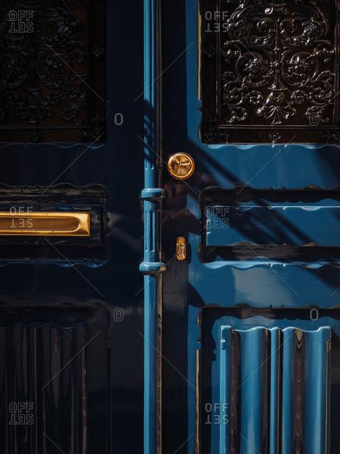 Blue door in Amsterdam
