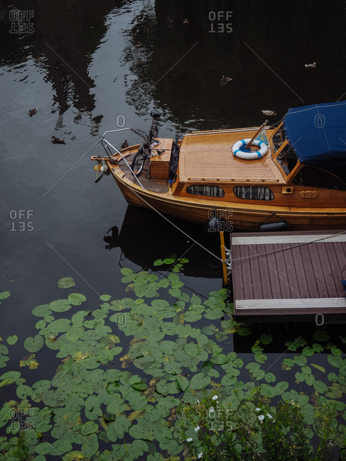 Amsterdam, Netherlands - July 19, 2015: A house boat in canal