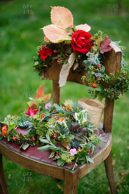 Floral wreaths on a chair