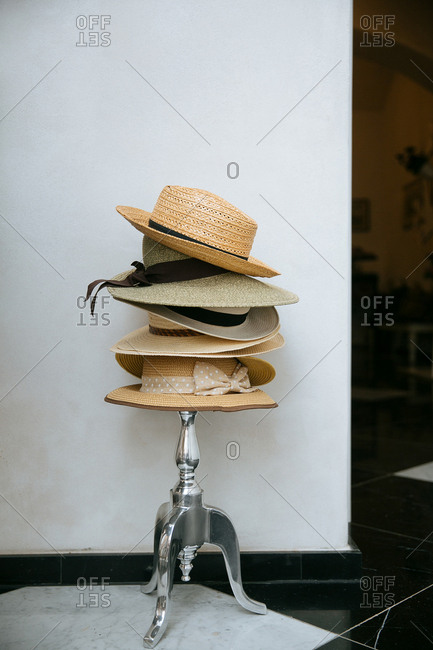 Hats on a stand in home
