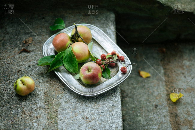 Apple platter on stairs