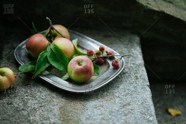 Apple platter on steps