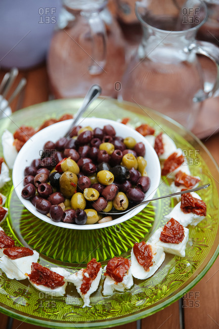 Olives and sun dried tomatoes